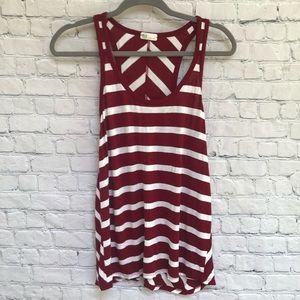 AG Jeans Red White Stripe & Chevron Tank Top